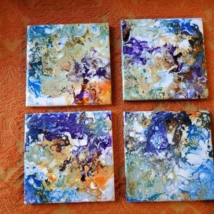 "Kristopia Studios Accents - Hand Painted Tile Coasters Set of 4 ""Volcanic Sea"""